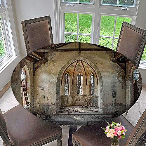Mikihome Chateau Easy-Care Cloth Tablecloth Ancient Broken Church with Arched Historic Belief Place Image Biege Brown for Home, Party, Wedding 35.5