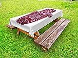 Lunarable Hamsa Outdoor Tablecloth, Colored Open Hand Arabic Hamsa Ornate Folkloric Faith Symbol Cultural Eastern Bohemian, Decorative Washable Picnic Table Cloth, 58 X 120 Inches, Pink