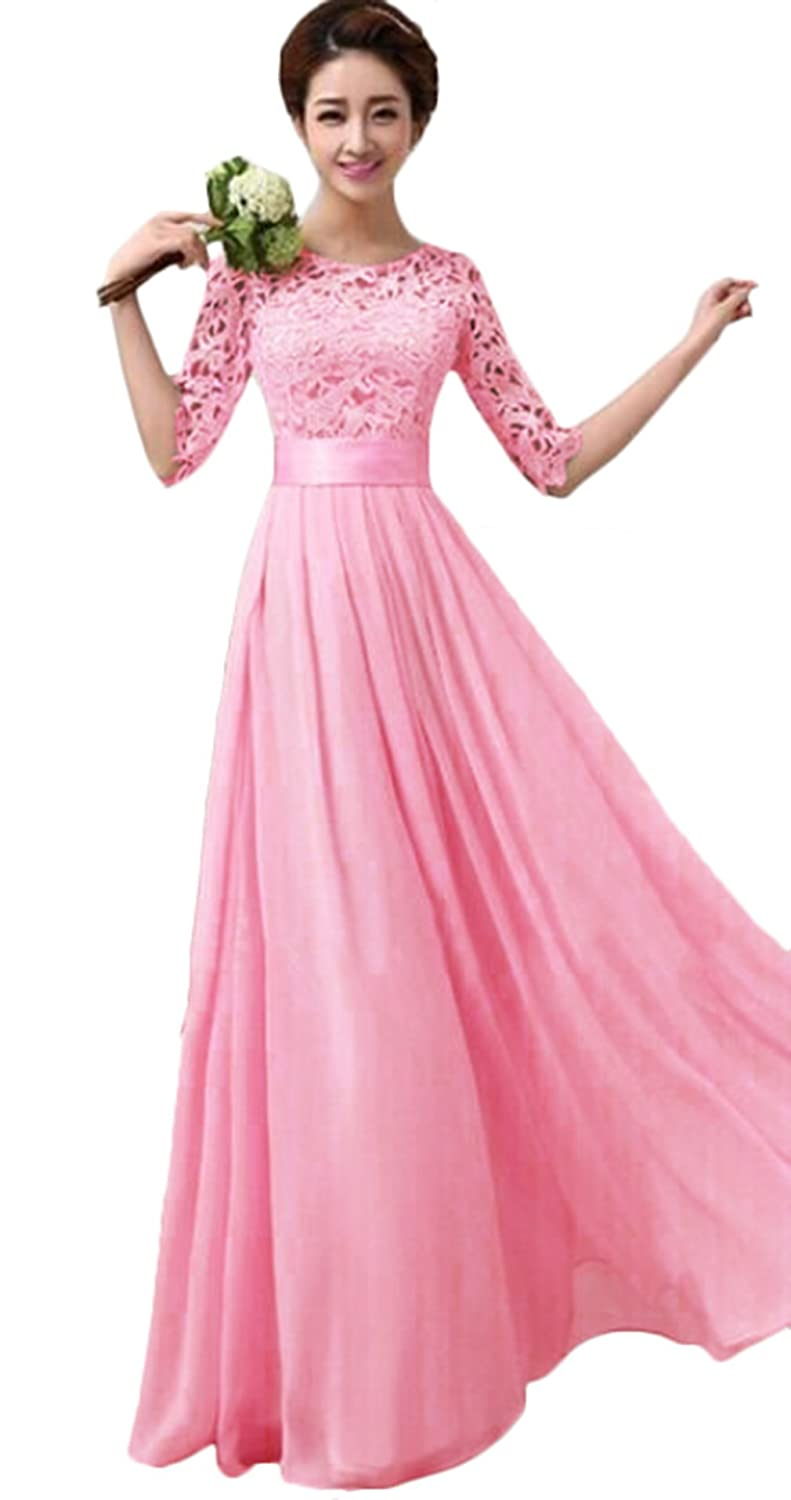7bf3557800a4 Amazon.com  Women Long Bridesmaid Prom Gown Evening Formal Party Cocktail Prom  Dress  Clothing