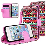 E LV Deluxe PU Leather Folio Wallet Flip Case Cover for Apple iPhone SE / 5S / 5