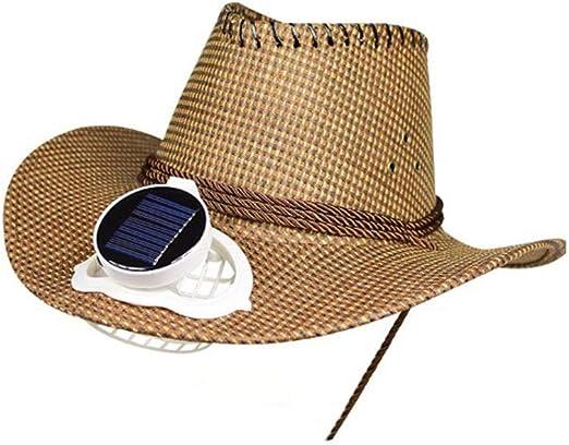 CONRAL Sombrero Vaquero con Ventilador refrigeración para Hombres, batería y energía Solar Ventilador Fresco ala Ancha Visera Gorra Unisex para Eventos al Aire Libre Viaje Playa Vacaciones,Brown: Amazon.es: Jardín