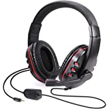 Diswoe Gaming Headset, 3.5mm Wired Over-Head Stereo Headphone with Mic Microphone Volume Control for Sony PS4 PS5 PC Tablet L