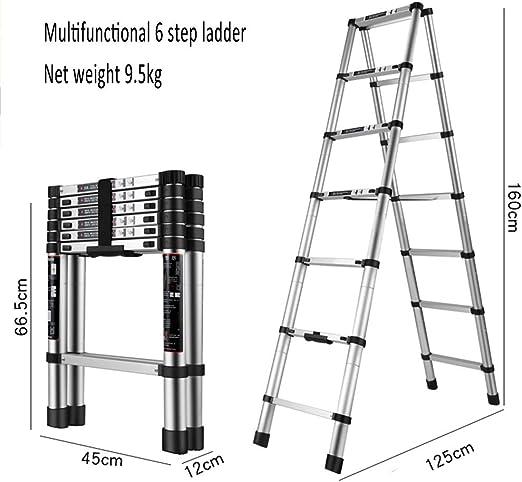 XEWNEG La extensión de la Escalera telescópica de Aluminio se extiende, Escalera Plegable, Escalera Multifuncional de Loft para Uso en el hogar, multifunción portátil, Carga máxima de 150 kg / 330 LB:
