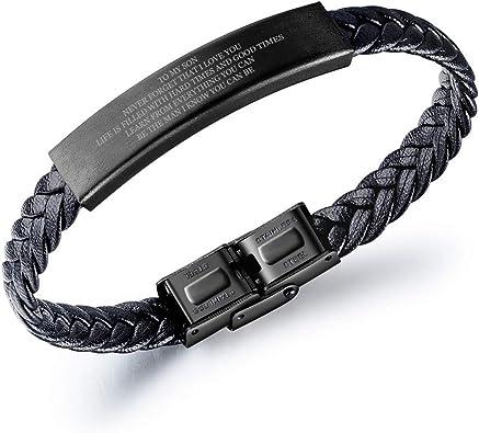 MPRAINBOW Unisex Personalized Customize Braided Name Date Message ID Tag Bracelet Handmade Adjustable Bracelet