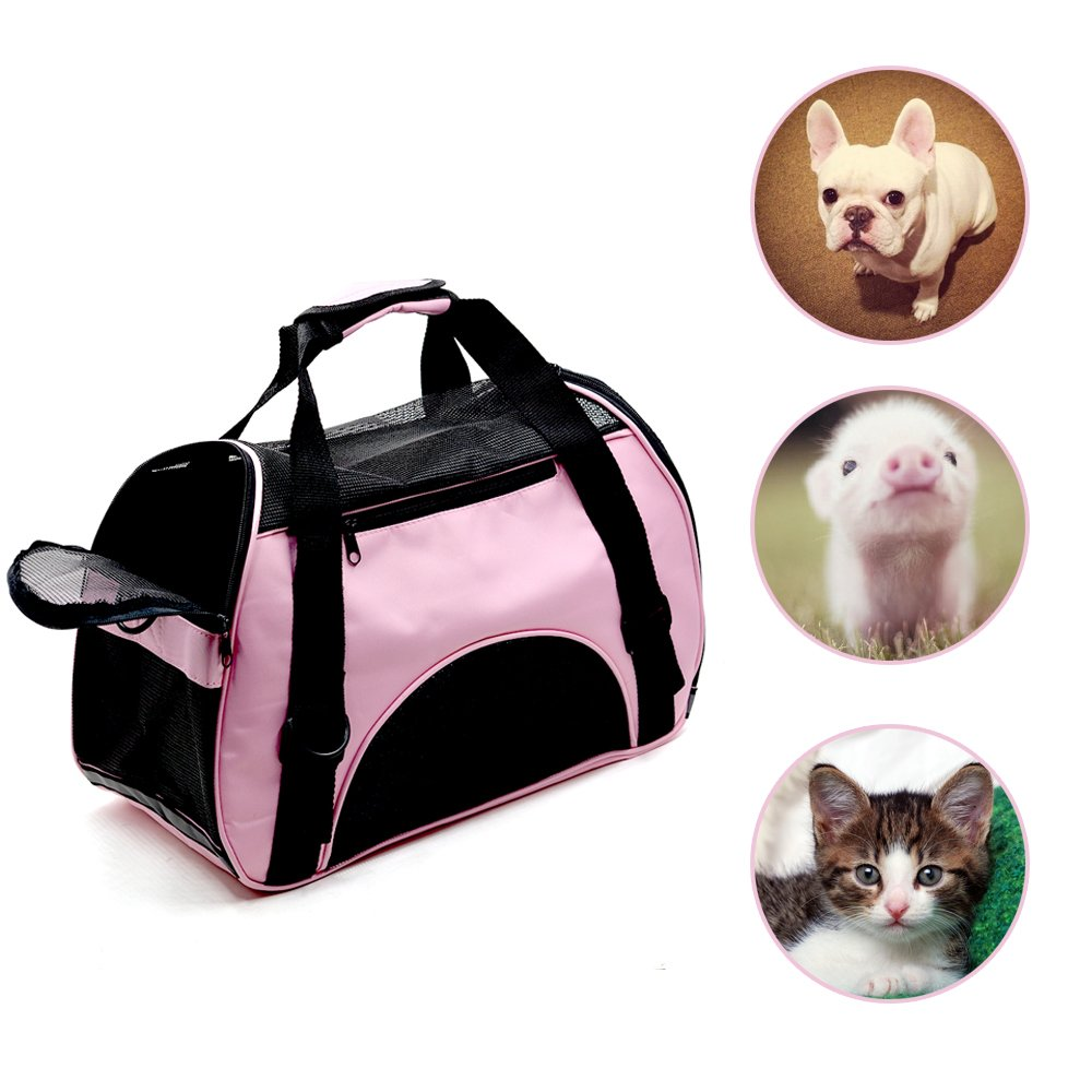 LMM Breathable Portable Pet Carrier Bag for Small Dogs Puppy Cat Small Animals, Airline-Approved Soft Sided Travel Dog Carrier Tote Bag Pink (Pink)