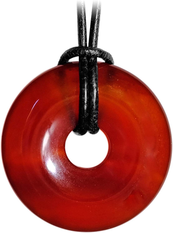 Kaltner Präsente Idea de regalo – Collar de cuero para hombre y mujer con colgante de dona de cornalina rojo diámetro 30 mm