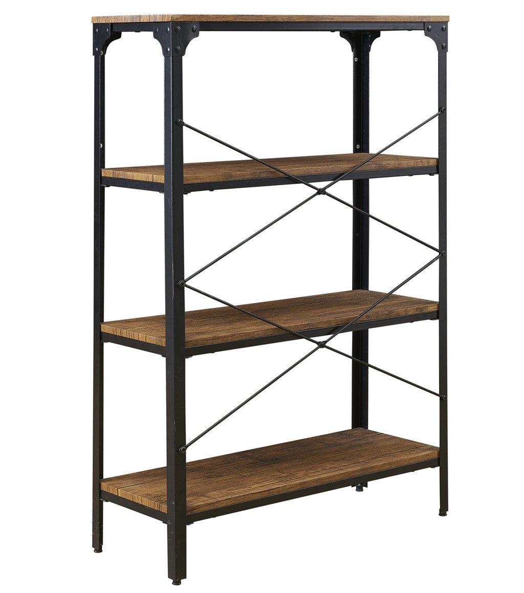 "O&K Furniture 4-Shelf Industrial Vintage Bookcase, Metal Bookshelf, 48""H x 33""W x 13""D, Barn-Wood Finish by O&K Furniture (Image #6)"