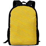 Markui Adult Travel Hiking Laptop Backpack Point Yellow Background School Multipurpose Durable Daypacks Zipper Bags Fashion