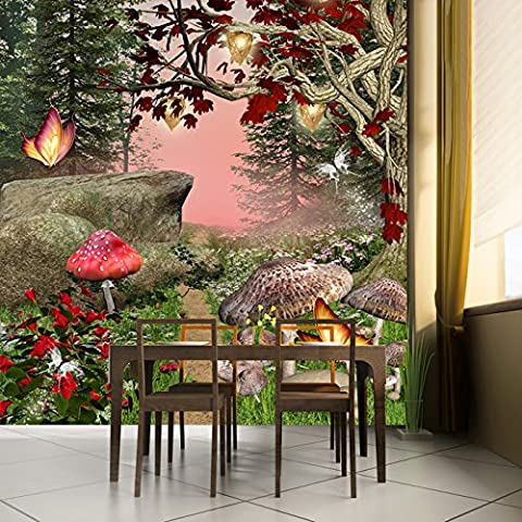Enchanted Forest Wall Mural Red Butterfly Trees Photo Wallpaper Girls Home Decor available in 8 Sizes Small (Fantasy Mural)
