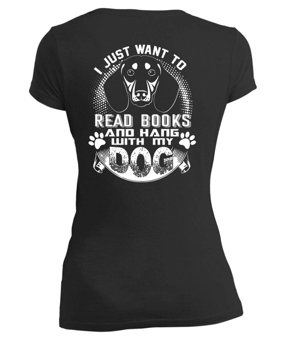 Crztee Hang With My Dog Vneck Tee I Just Want To Read Books T Shirt