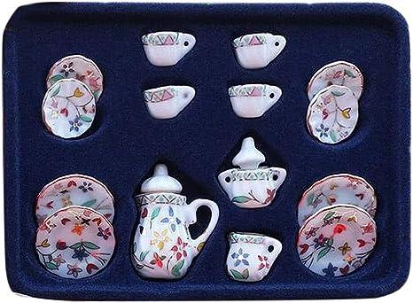 15pcs 1:12 Dollhouse Cups Mini Furniture  Milk Can Sugar Can Teapot Craft