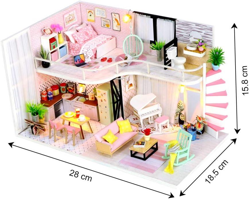 DIY LED 3D Wooden DollHouse Loft Villa Miniatures Furniture Kit Kids Toys Gift
