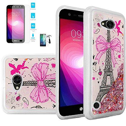 Phone Case For Walmart Family Mobile LG Fiesta 2, Straight Talk LG Fiesta 2, LG X-Power-2, LG Fiesta Tempered Glass Screen with Liquid Quicksand Glitter Cover (Quicksand Paris/Tempered Glass)