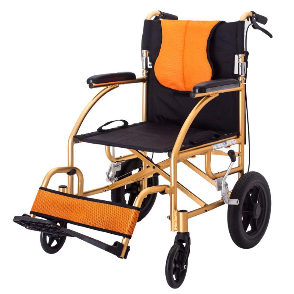LWUDI Silla De Ruedas Plegable Ligera, Silla de Viaje para Ancianos con discapacidad de 20 Pulgadas, Asiento Ancho de 17 Pulgadas,Gold: Amazon.es: Deportes ...