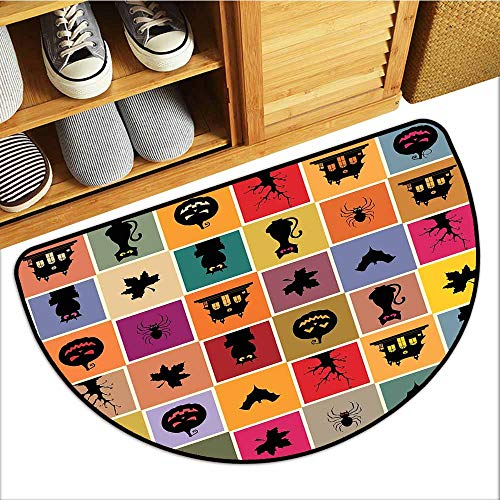TableCovers&Home Absorbent Door Mat, Vintage Halloween Custom Doormats for Office, Bats Cats Owls Haunted Houses in Squraes Halloween Themed Darwing Art (Multicolor, H24 x D36 Semicircle)