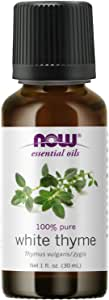 NOW Essential Oils, White Thyme Oil, Empowering Aromatherapy Scent, Steam Distilled, 100% Pure, Vegan, Child Resistant Cap, 1-Ounce