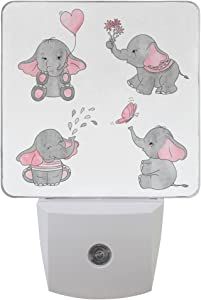 Naanle Set of 2 Cute Cartoon Baby Elephant Hold Heart Shape Balloon Flowers Play Butterfly Water Drop Fountain Nightlight Auto Sensor LED Dusk to Dawn Night Light Plug in Indoor for Adults