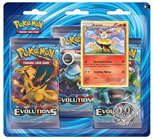 Pokemon TCG: XY Evolutions Booster Features Rare Holofoil Braixen Card and Froakie Collector's Coin | 3 Blister Value 100% Authentic Expansion (Blister Booster Box)