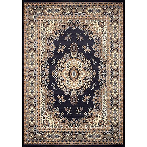 Home Dynamix Premium Sakarya Area Rug by Traditional Persian-Inspired Carpet | Stylish Medallion Print and Classic Boarder Design | Navy Blue, Cream, Brown 5'2'' x 7'4''
