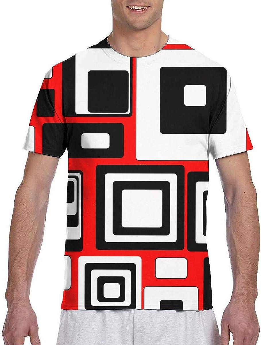 Minimalist Geometric Retro Rectangle Forms Nostalgia Men's Round Neck Short Sleeve T-Shirt Soft and Comfortable Micro Elastic