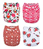 Rouge and Rose 4-Pack Cloth Pocket Diapers with 4 Bamboo Inserts