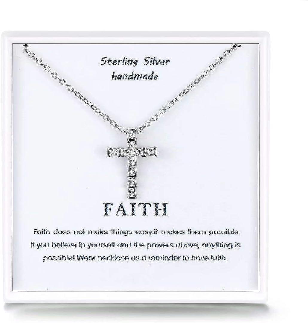 Qings Cruz Colgante Collar para Mujer,925 Plata Colgantes Cubic Zirconia Cadena,Religion Creencias Cruz Plata Joyas para Mujer