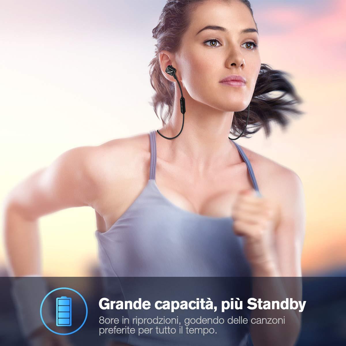 Cuffie Bluetooth POWERADD Stereo Hi-Fi, Un Modello in -ear Magnetico, Auricolari Bluetooth 4.1 IPX4 Perfetto per Sport Cancella il Rumore e 7 Ore di Riproduzione.