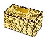 Starlight Square Cotton Ball Swab Holder, Q Tip Jar for Bathroom W/ Swarovski Crystals (Polished Gold)