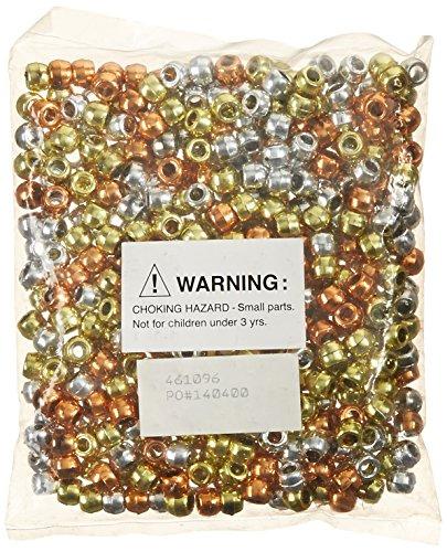 School Smart Pony Beads, Assorted Metallic Colors, Pack of 500 ()
