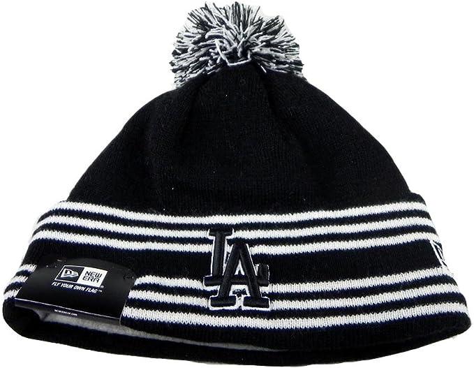 Black LA Dodgers beanie with white thin stripes