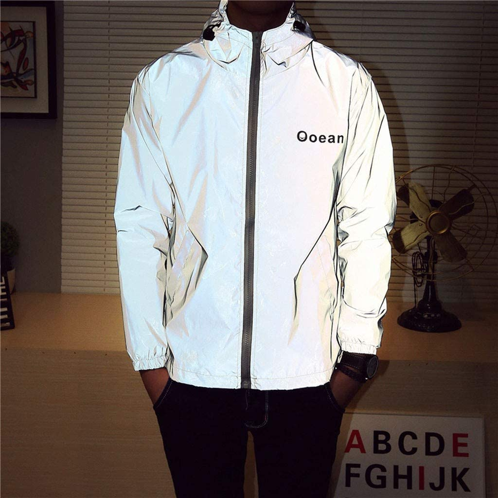 WOSAWE Men Reflective Jacket Night Glowing Bomber Jacket MTB Cycling Windbreaker Travel Sport Coat