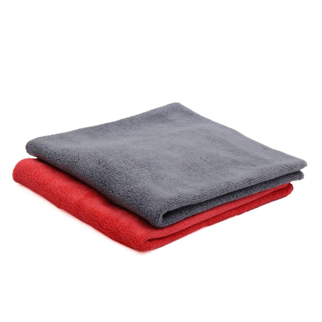sourcingmap® 2pcs 40 x 40cm 400g/m² nettoyage voiture en microfibre séchage serviettes tissu lavage Rouge Gris sourcing map a17030600ux0126