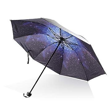 Hilai 1pc Paraguas de Viaje a Prueba de Viento Triple Paraguas Cielo Estrellado patrón de Vinilo