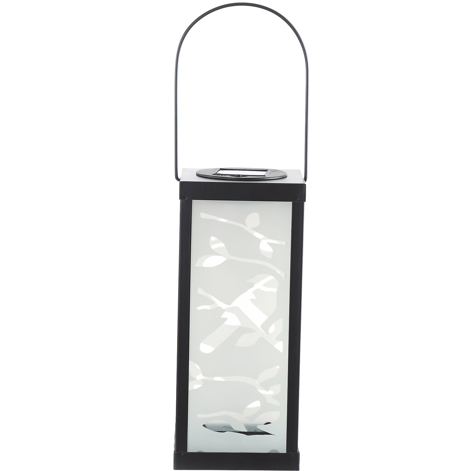 CEDAR HOME Solar Lantern Outdoor LED Light Portable Waterproof Frosted Metal Glass Hanging Lamp with Hanger, 4.5''W x 4.5''D x 11''H, Bird