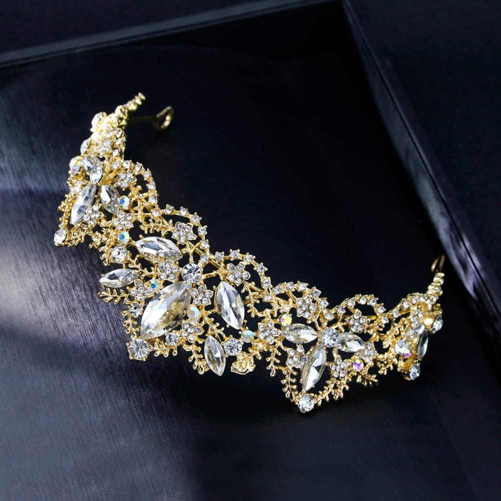 DIYOO/ Bandeau de Cheveux Couronne de Cheveux dargent de Mariage avec Cristal pour Les Filles la mari/ée