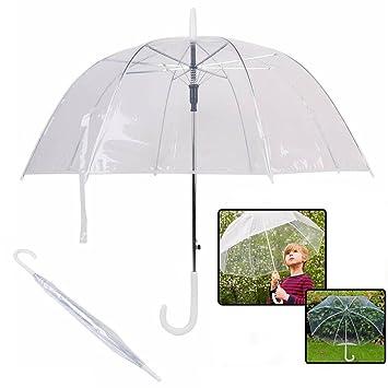 feiuruhf transparente seta paraguas, resistente al viento mitad automático mango claro lluvia paraguas transparente cúpula