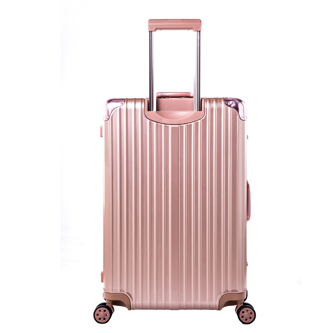 Expandable Spinner Hard Shell Suitcase Lightweight Carry On Luggage (24 inch, rose gold)