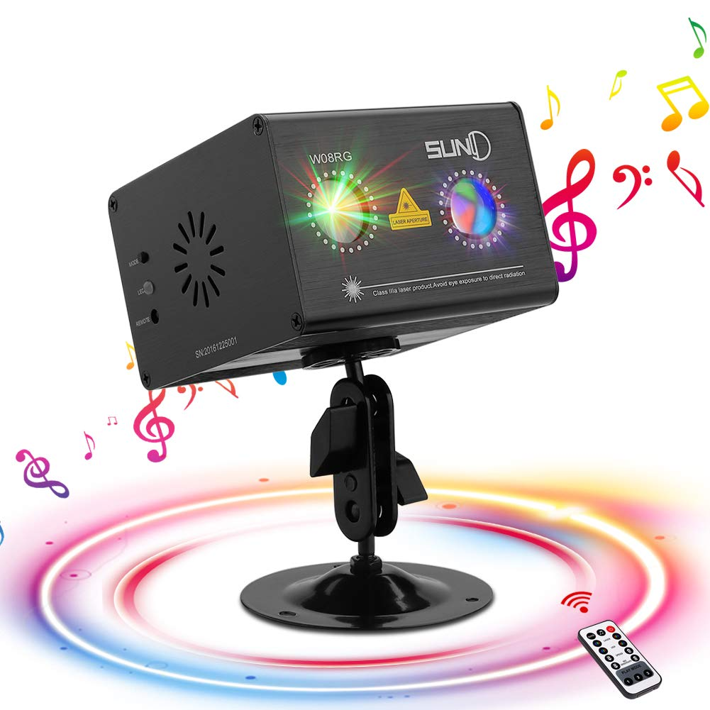 SUNY Party Lights Hardwired Sound Activated Laser Lights 8 RG Gobos Laser Light Show Galaxy Projector LED Ripple Wave Projector Indoor DJ Party Lights Xmas Disco Decor Holiday Event Laser Light Show by SUNY
