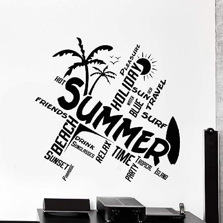 zqyjhkou Tabla de Surf Vinilo Etiqueta de La Pared Palm ...