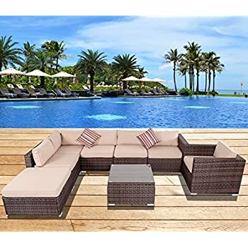 sundale outdoor 8 pieces all weather wicker patio garden furniture sofa sectional set - Garden Furniture 8 Piece