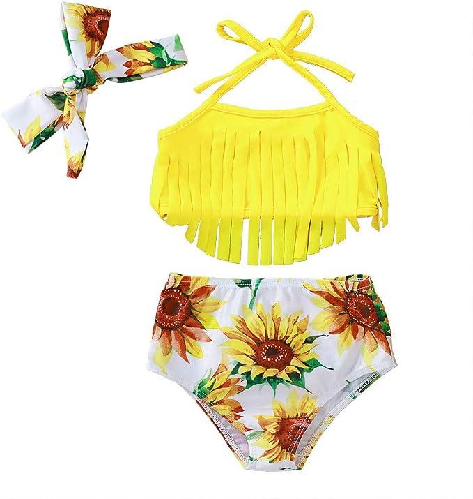 Topgrowth Costumi Da Bagno Bambina Stampa Leopardato Costumi Interi Tankini Spiaggia Costume da Bagno Pagliaccetto Fascia per Capelli Bimba