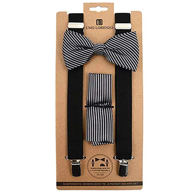 cb3fcea059aa Image Unavailable. Image not available for. Color: Men's Black & Silver  Stripe 3 PC Clip-on Suspenders, Bow Tie and Hankie