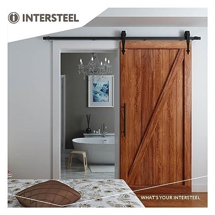 Intersteel Basic negro mate sistema de puerta corredera para puerta de madera de granero, Negro