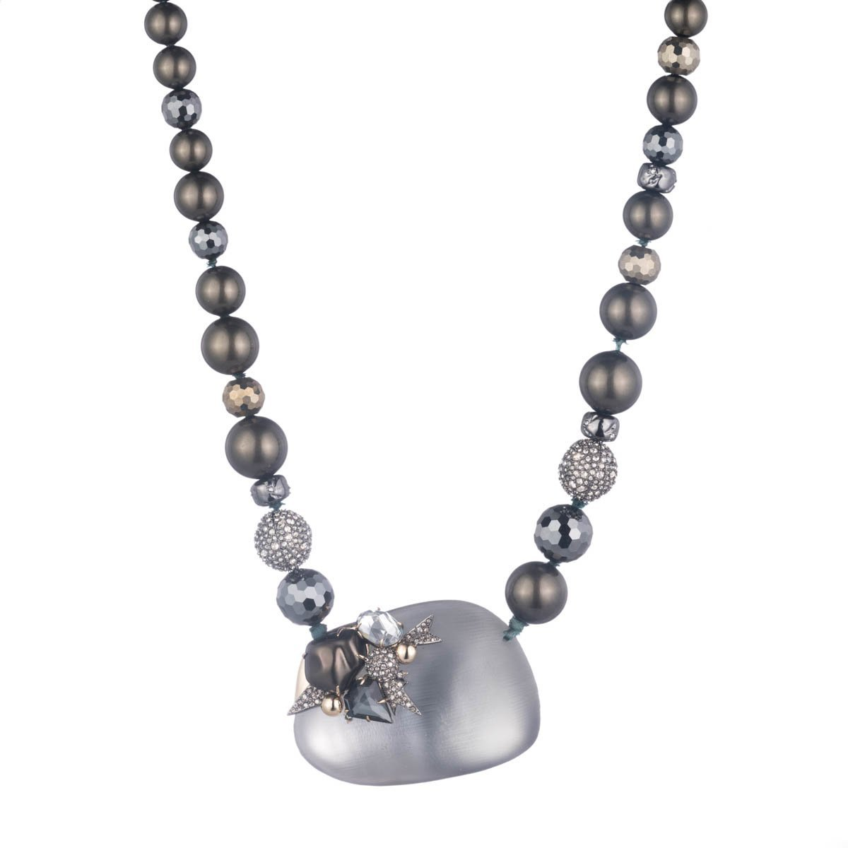 Alexis Bittar Medium Lucite Bib Necklace On Beaded Strand with Pearl and Crystal Detail
