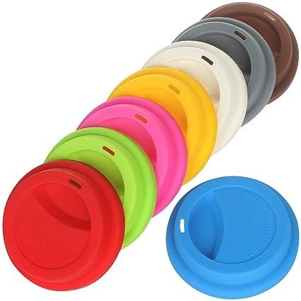 069c8bb8201 Amazon.com   Yilove Silicone Coffee Cup Lid, Ceramic Travel Coffee Mug Lid,  8 Pack: Coffee Cups & Mugs