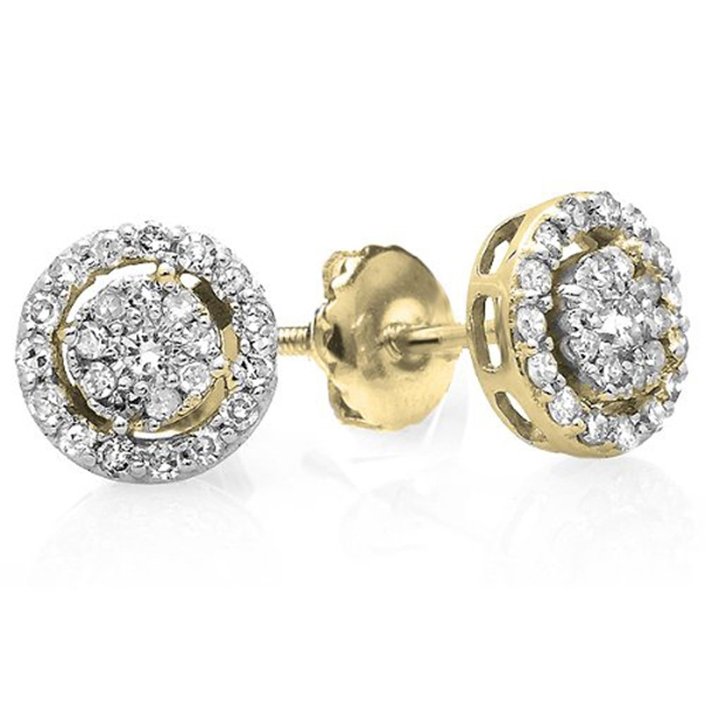 0.40 Carat (ctw) 14K Yellow Gold Round Cut Diamond Round Shape Cluster Earrings Look of 1 CT each