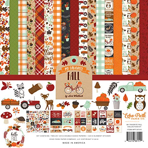 Echo Park Paper Company MFF187016 My Favorite Fall Collection Kit Paper, Orange, red, Teal, Black, Green, tan from Echo Park Paper Company