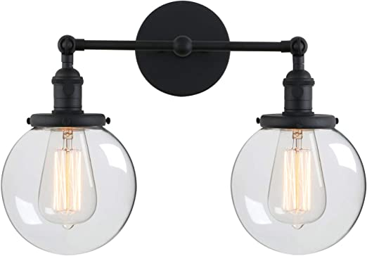 Phansthy Glass Wall Sconce 2 Light Industrial Wall Sconce 5.9 Inches Edison Globe Wall Light Shade