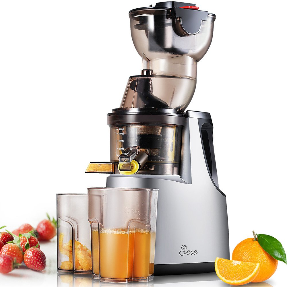 Slow Masticating Juicer, Jese 250W 37RPMs Extra-slow Cold Press Juice Extractor 3.4'' Wide Chute Anti-Oxidation Countertop Juicer for Juice, Baby Food, Smoothie, Ice Cream, etc