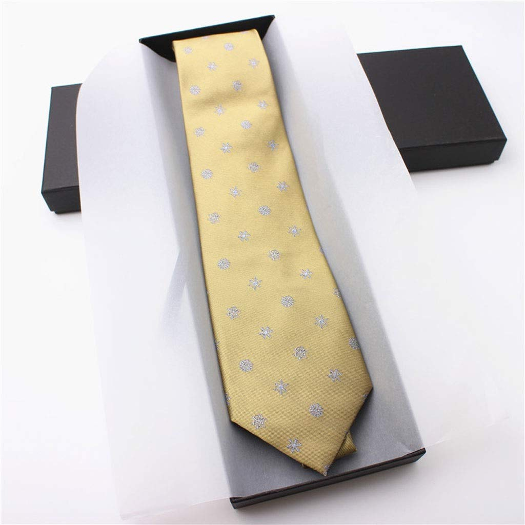 LDG Mens Necktie Color : Green Stylish Yellow Snowflake Wave Point Business Suit Accessories Silk Wide Tie